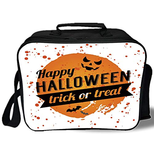 Halloween 3D Print Insulated Lunch Bag,Happy Halloween Trick or Treat Watercolor Stains Drops Pumpkin Face Bats,for Work/School/Picnic,Orange Black White]()