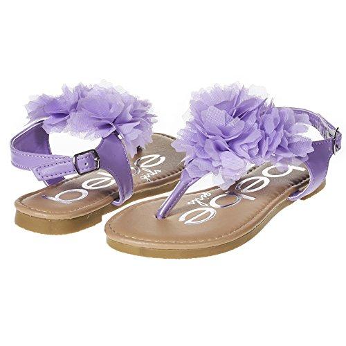bebe Girls Big Kid Flat Thong Slingback Sandals With Chiffon Flowers Size 1 Lilac