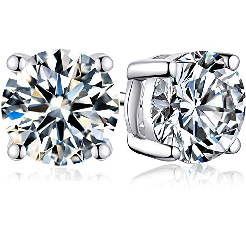 Sterling Silver Cubic Zirconia Stud Earrings For Women Men Grils Brilliance Round Cut 3.0 Carat