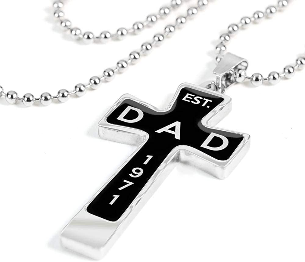 1971 v3 Unique Gifts Store Dad Luxury Ball Chain Cross Necklace Est