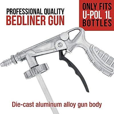 Custom Coat Professional Quality Bedliner Application Gun with Regulator - Fits 1 Liter U-POL Raptor Bottles: Automotive