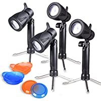 GLOSHOOTING Photography Lighting Kit, 12 LED Continuous Photo Lights, Table Top Lamp for Video Studio with Color Filters, 4 Sets