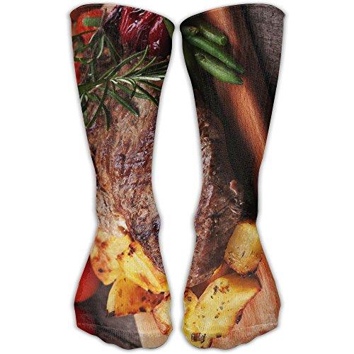 Men Women Novelty Grass Fed Ribeye Steak.jpeg Funky High Sock Athletic Team Stocking (1 Ribeye Steak)
