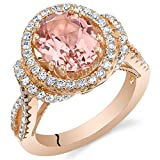 Simulated Morganite Rose-Tone Sterling Silver Oval Allure Ring