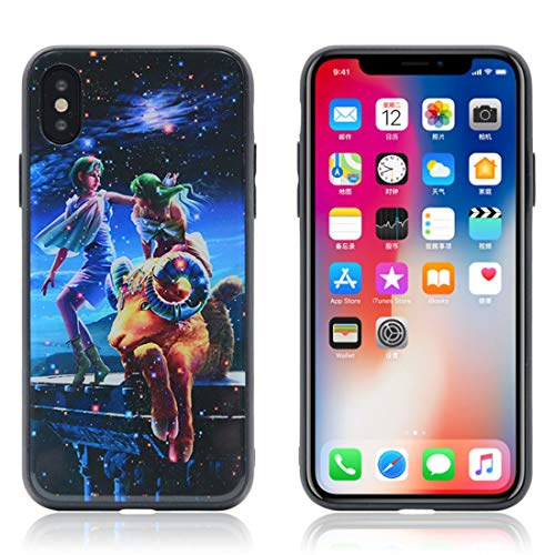 LUOFUSHENG Hard Protective Case Cover for iPhone X/XS TPU + Tempered Glass 3D Cartoon Cancer Pattern Protective Back Cover Case (Color : Color1)