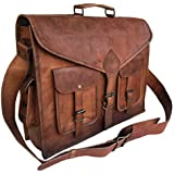 1aaea16252 KPL 18 Inch Rustic Vintage Leather Messenger Bag Leather Laptop Bag Men s  Leather Briefcase Satchel Bag