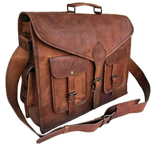KPL 18 Inch Rustic Vintage Leather Messenger Bag Laptop Bag Briefcase Satchel Bag by Komal's Passion Leather