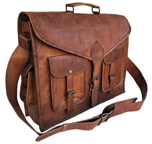 (KPL 18 Inch Rustic Vintage Leather Messenger Bag Leather Laptop Bag Men's Leather Briefcase Satchel Bag)