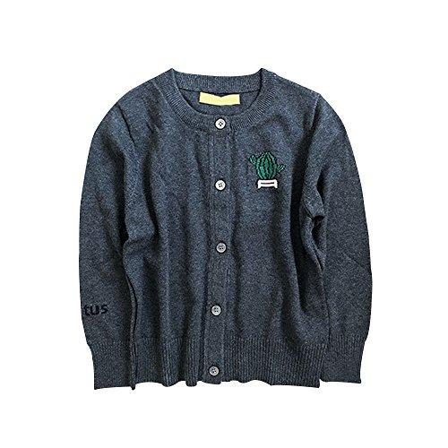 Boys Girls Cotton Knit Sweater Children's Cardigan Sweater Dark Grey 120cm by Mesinsefra