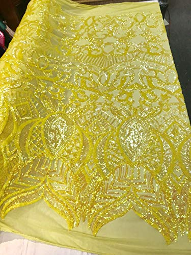 YELLOW IRIDESCENT ROYALTY DESIGN EMBROIDERY WITH SEQUINS ON A 4 WAY STRETCH MESH ()