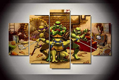 ZZXINK 5Panel Printed Teenage Mutant Ninja Turtles Oil Painting Room Decor Print Poster Picture Canvas Living Room Background -