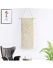 """Boho Woven Macrame Wall Hanging Bohemian Tapestry with Art Nature Home Decorations for Living Room Bedroom Apartment Decor- 11"""" W x 30"""" L (Beige)"""
