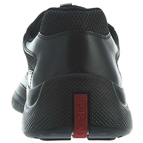 Scarpe Uomo Argento Lace Up Bike Prada 4bss04 Plume Pelle Tessuto Nero Sneaker ED2IYW9H