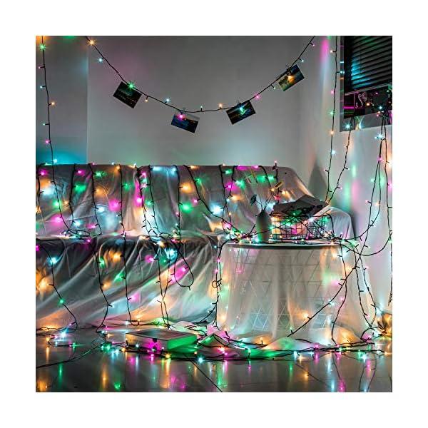 Avoalre Catena Luminosa 1000 LEDs 100M Luci Natale 8 Modalità 4 Colori Stringa Luci Interno/Esterno Impermeabile Luci Decorative per Atmosfera Romantica Festa Nozze Compleanno, Rosa/Giallo/Blu/Verde 7 spesavip