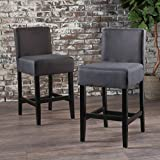 Christopher Knight Home 300881 Portman Dark Charcoal Fabric Counter Stools (Set of 2)