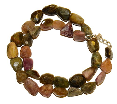 Tourmaline Necklace 02 Multi Color Faceted Nugget Beads Spiritual Healing Crystal Energy (Gift - Color Multi Tourmaline Necklace