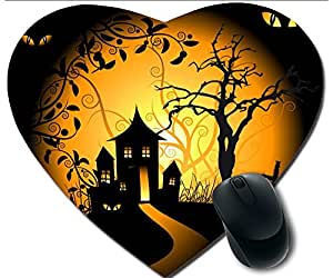 Hot Heart-Shaped Comfortable Mouse Pad - Customizable Printed On Wild Cats Halloween Evening Durable Cool Game Mouse Pad
