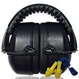 3 Sixty Safety Ear Muffs + Free Ear Plug Kit, Best Hearing Protection for Firearm Shooting, Construction Noise Reduction / Cancelling with Easy Storage - All Day Comfort for All Your Ear Defense Needs