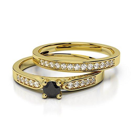 Or jaune 18carats 0,20CT G-H/VS sertie de diamants ronds Coupe Noir de mariage Bague de fiançailles et ensemble de Agdr-1054