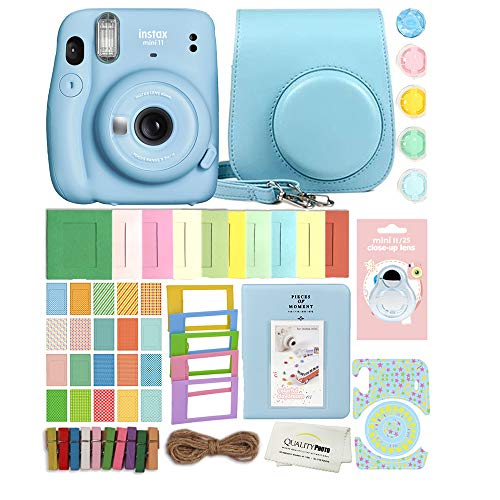Fujifilm Instax Mini 11 Instant Camera with Case, Album and More Accessory Kit (Sky Blue)