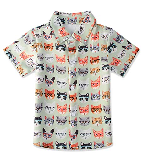 Little Boys Cool Slim fit Polo Shirts Colorful Cats Kids Short Sleeve Dress Shirt Button Down Party Wear Clothing Size 3-4