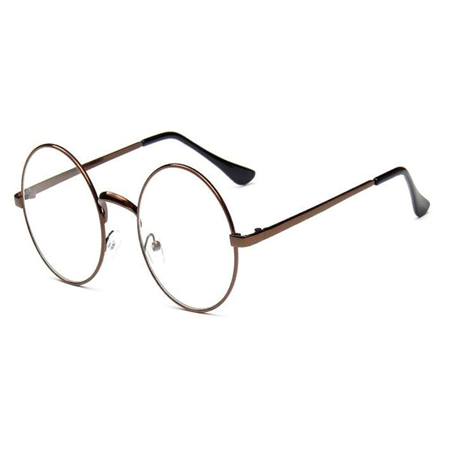 Aiweijia Mujeres Hombres gafas Metal Frame Nerd Retro Vintage Round Optical Eye glasses Clear Lens
