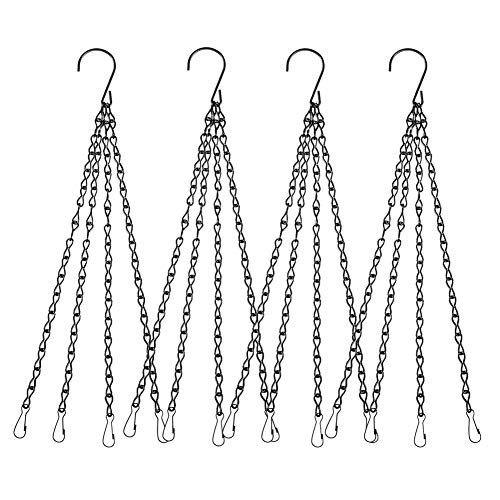 4Pack - 24 Inch 4 Leads Hanging Chain with Hooks Flower Pot Chain Replacement Plant Hangers for Bird Feeders, Planters and Lanterns (Black) (Planters Garden Lead)
