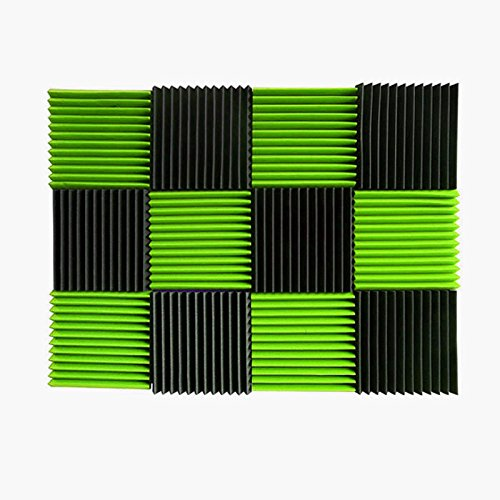 (12 Pk) 1'x12'x12' GREEN/CHARCOAL Acoustic Panels Soundproofing Foam Acoustic Tiles Studio Foam Sound Wedges (12T)
