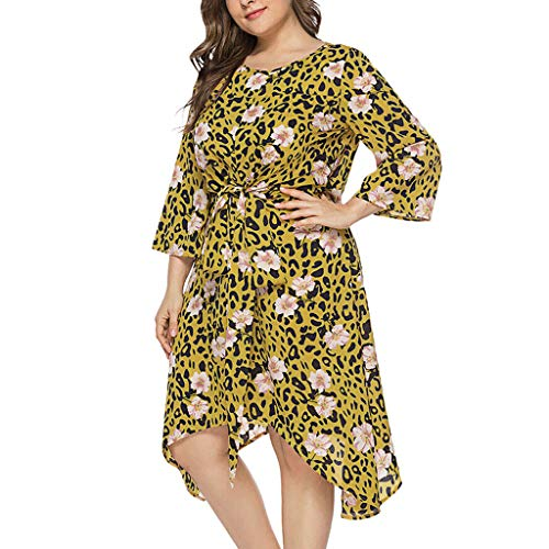 (Yucode Women's Summer Leopard Floral Print Plus Size Half Sleeve Dress Midi Dress Loose Puffy Cocktail Party Dresses Yellow)