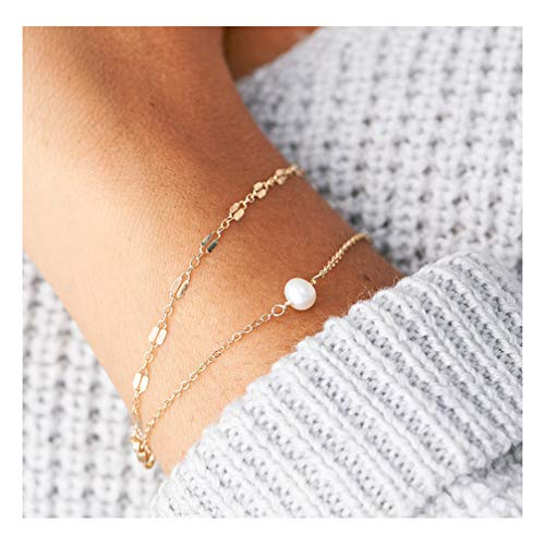 - Mevecco Gold Layered Pearl Bracelet,14K Gold Plated Cute Dainty Handmade Tiny Beaded Bracelet Delicate White Freshwater Cultured Pearls Charm Simple Minimalist Lace Link Chain Bracelet for Women
