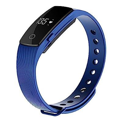 Smart Bracelet , AEDILYS Bluetooth 4.0 Smart Bracelet Smart Band Heart Rate Monitor Dynamic Wristband Pedometer Smart band Bracelet Fitness Tracker for IOS Android - Blue