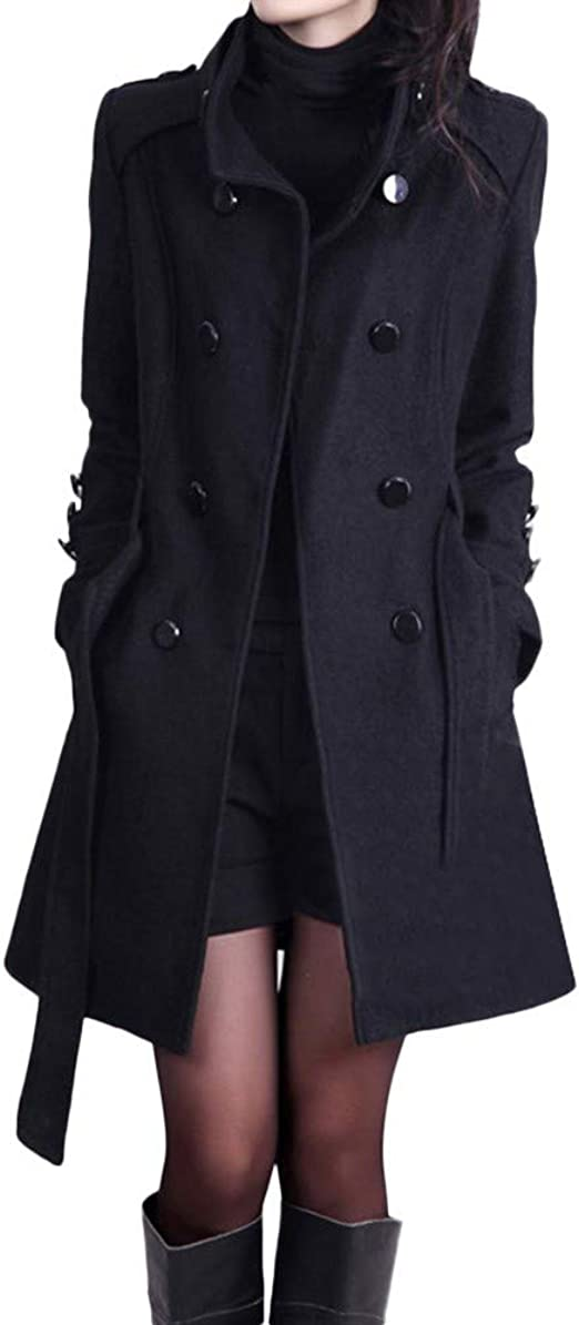 Womens Stand Collar Wool Blend Double-breasted Slim Fit Long Coat Warm Jackets