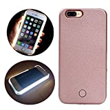 LED Light Up Selfie Case Illuminated Cell Phone Case Cover Rechargeable Power Bright Selfie for iPhone 6 plus/6s plus, Rose Gold