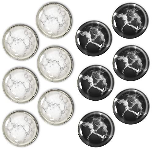 Black & White Granite Fridge Magnets, 12 Pcs Round