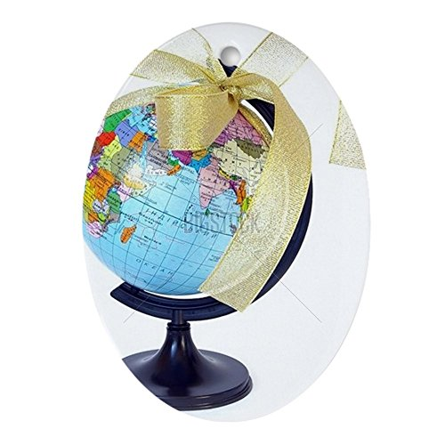 CafePress World Globe and Golden Ribbon Oval Ornament Oval Holiday Christmas Ornament ()