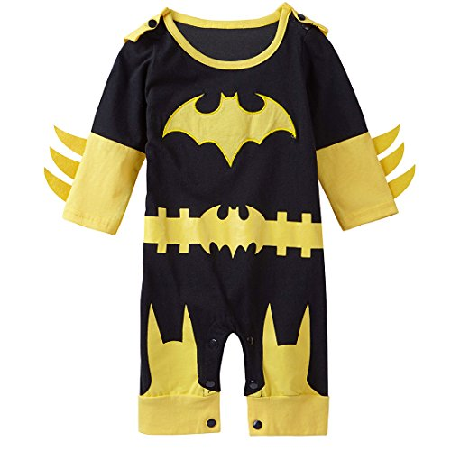 [A&J Design Baby Girls' Batgirl Long Sleeve Romper Costume 9-12 Months] (Baby Batgirl Outfit)