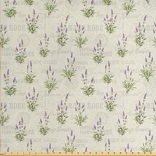 Lunarable Lavender Fabric by The Yard, Vintage Grunge Pattern with Bunch of Herbal Blossoms Faded Retro Texts, Decorative Fabric for Upholstery and Home Accents, 1 Yard, Lavender Beige (Upholstery Retro Fabric)