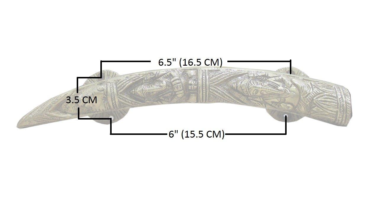 eSplanade 11'' Tusker Style Ganesha Carving Brass Door Handle Pair - Set of 2 | Home Decor | Door Decor | Pair of Brass Door Handles | Pair of Brass Door Pulls