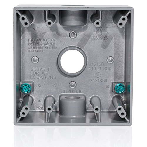 Leviton 2GM73-GY 2-Gang Weatherproof Box with Three 3/4 inch Diameter Outlets