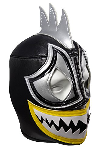 [ACQUAMAN Adult Lucha Libre Wrestling Mask (pro-fit) Costume Wear - BLACK] (Wwe Wrestling Costumes For Adults)