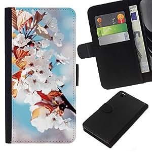 All Phone Most Case / Oferta Especial Cáscara Funda de cuero Monedero Cubierta de proteccion Caso / Wallet Case for HTC DESIRE 816 // White Flowers