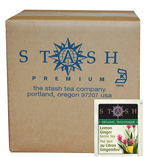 Stash Tea Organic Green Tea Bags in Foil, Lemon Ginger, 100 Count (packaging may vary)