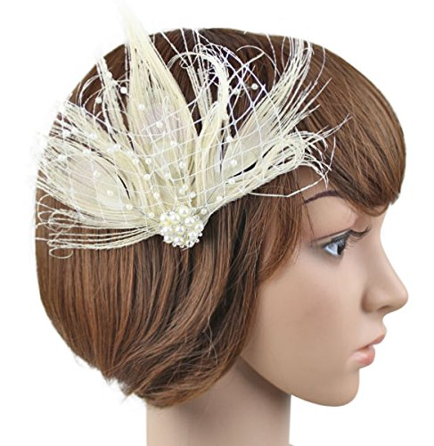1920s Peacock Feather Costume Hair Clip Flapper Headpiece Hat Accessory