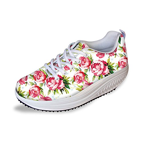 Thikin Sweety Style Fleurs Maille Coins Chaussures Baskets Plateforme # 2 Couleur