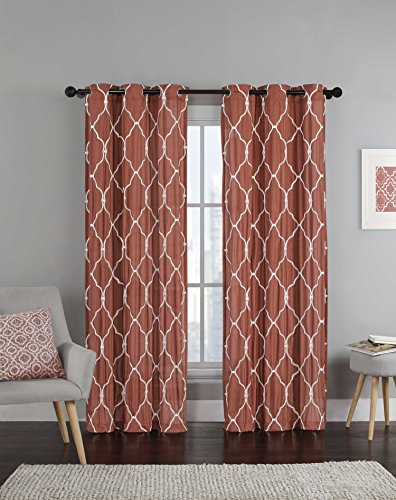 Single (1) Rust Window Curtain Panel: White Embroidered Trellis Desig, Grommets, 54″ W x 84″ L