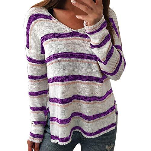 Sexy Femmes Col Chemise Tricoter Pullover en Dames Longue Lenfesh Tops Violet Manche Rayures V TqER7dxRwt