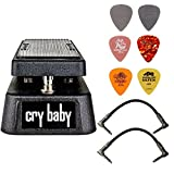 Dunlop Crybaby GCB-95 Classic Wah Pedal Bundle w/2 Patch Cables and 6 Assorted Dunlop Picks