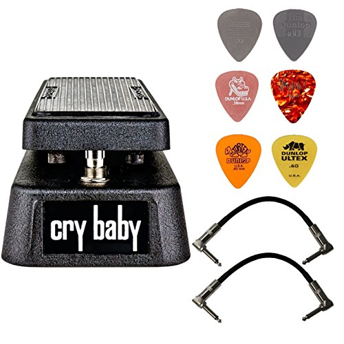 (Dunlop Crybaby GCB-95 Classic Wah Pedal Bundle with 2 Patch Cables and 6 Assorted Dunlop Picks)