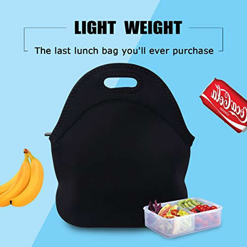 Lunch Tote, OFEILY Lunch boxes Lunch bags with Fine Neoprene Material Waterproof Picnic Lunch Bag Mom Bag (Black) by Ofeily (Image #2)