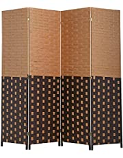 BestMassage Wood Screen Folding Screen Room Dividers 4-Panel Mesh Woven Design Privacy Room Partition Wooden Screen,cm